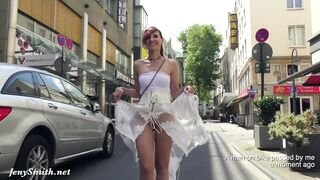 Jeny Smith walks in public in transparent suit out of pants