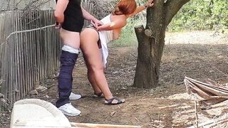 Mommy called her stepson to nature for blow job and anal