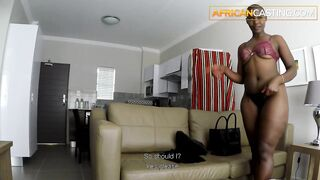 AFRO CASTING - This Babe shaved head but her ebony ass is HOT AS SCREW