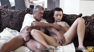 DADDY4K. Taboo sex of old dude and pleasant brunette hair ends with cum in throat