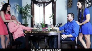 DaughterSwap - Lewd step Daughters Assist Their step Dads Relieve Stress