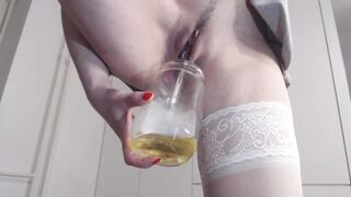 Golden Shower, Pissing Close Up, Leaking Juicy Snatch Pee, Hot Underware Piddle