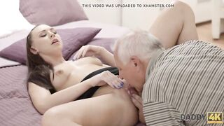 DADDY4K. Smart old dude convinces sons red-haired GF to have sex
