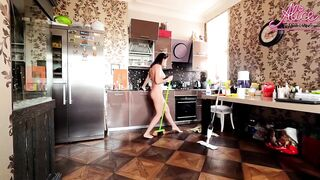 Hawt Wife Pleasure Dancing Nude Whilst Cleaning the Abode