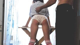 step dad spanks red butt wicked bad gal doggy style