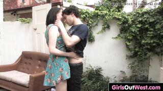 Breasty brunette hair Aeryn drilled and inseminated