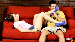 Lil Brunette Hair Kylie Sky Gets Her Feet Licked And Dicked For The 1St Time!