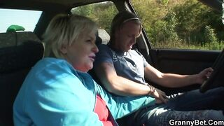 GRANNYBET - 70 years old granny gets drilled roadside