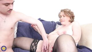 Camilla C is getting banged from the back, by a younger man and groaning during the time that cumming