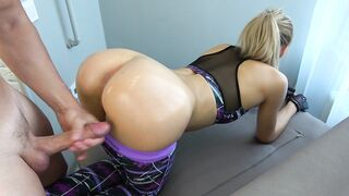 Step Brother Grinding and Cums on Yoga Panties Step Sister whilst Working out