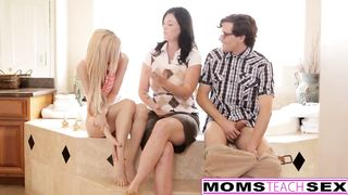 Slutty woman caught her step son banging his girlfriend and decided to join 'em for a whilst