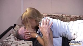 Old chap is pretending to be in a bad state just to bang a younger babe