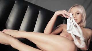 Mandy Dee striptease on the bed
