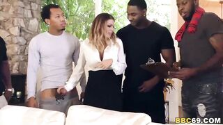 Smashing real estate agent, Brooklyn Follow got group-fucked by a group of ebony boyz, whilst working