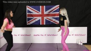 Brassiere and Pants Match (Disrobe-Wrestling Match) w, Loser gets thonged in a nappy (diaper)!! ~ Hannah Rose vs Tamara Hunt - (Featuring Roxi Keogh)