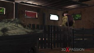 3DXPASSION - Farmer plays with a hawt youthful woman in cowshed