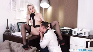 Seductive blond in erotic, ebony nylons and garter strap is getting banged hard, whilst at work
